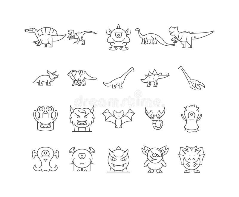 Динозавры выравнивают значки, знаки, набор вектора, концепцию иллюстрации плана иллюстрация вектора