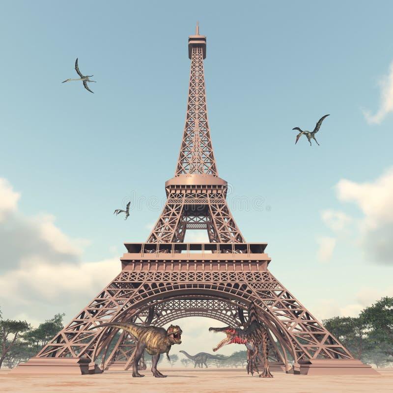 Динозавры в Париже иллюстрация штока
