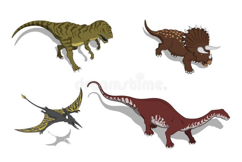 Динозавры в равновеликом стиле Изолированное изображение юрского изверга Значок dino 3d шаржа иллюстрация штока