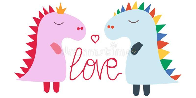 Динозавры любов характера Характер Dino Животное гада Милый дизайн динозавров Милый динозавр стегозавра младенца Любовь динозавра бесплатная иллюстрация