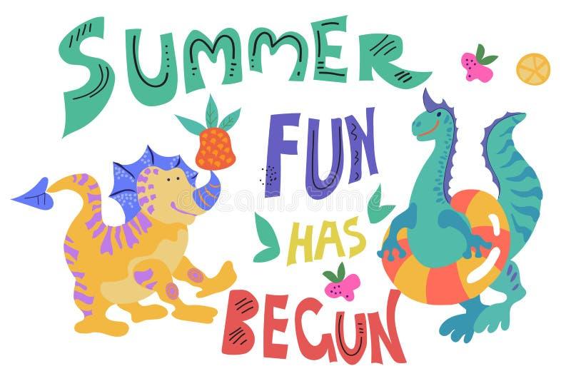 Динозавры на пляже или бассейне с иллюстрацией лозунга лета бесплатная иллюстрация