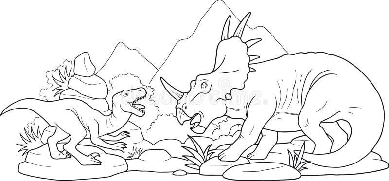 Динозавры сражения иллюстрация вектора