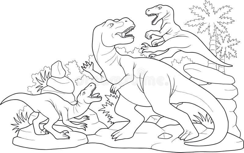 Динозавры сражения иллюстрация штока