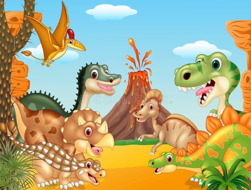 Динозавры шаржа счастливые с вулканом бесплатная иллюстрация