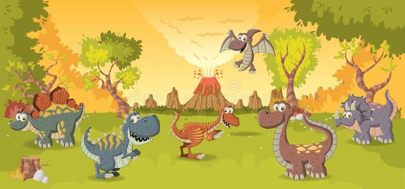 Динозавры шаржа бесплатная иллюстрация