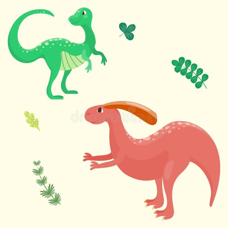 Динозавры шаржа vector хищник гада характера dino изверга иллюстрации животный доисторический юрский бесплатная иллюстрация