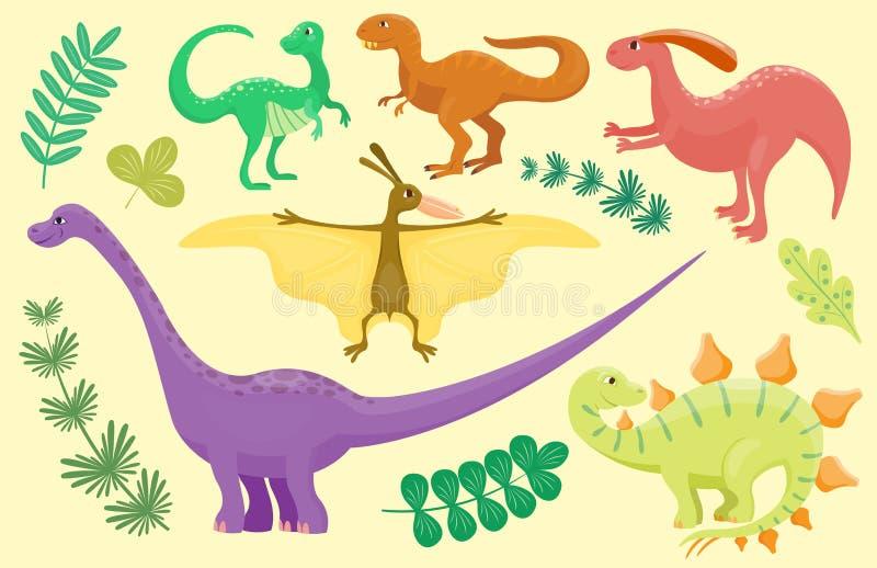 Динозавры шаржа vector хищник гада характера dino изверга иллюстрации животный доисторический юрский иллюстрация штока