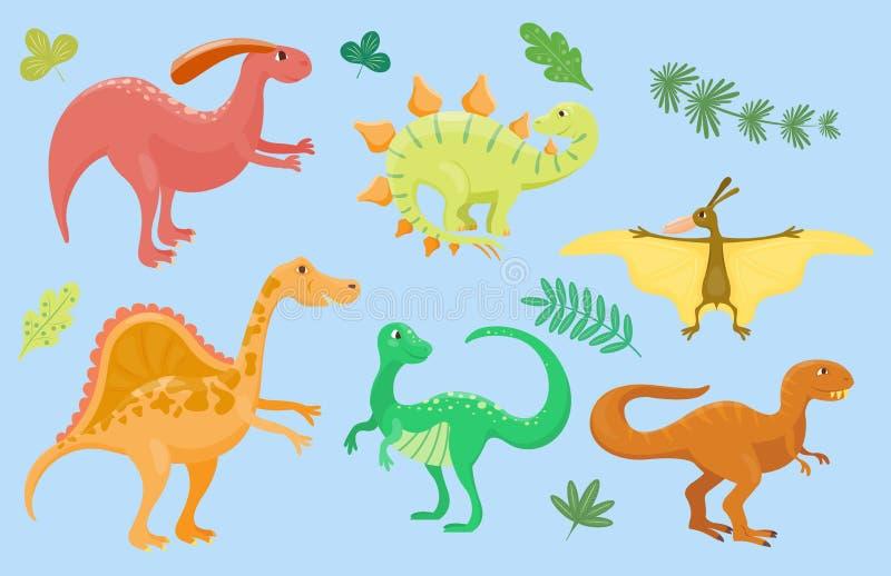 Динозавры шаржа vector хищник гада характера dino изверга иллюстрации животный доисторический юрский иллюстрация вектора