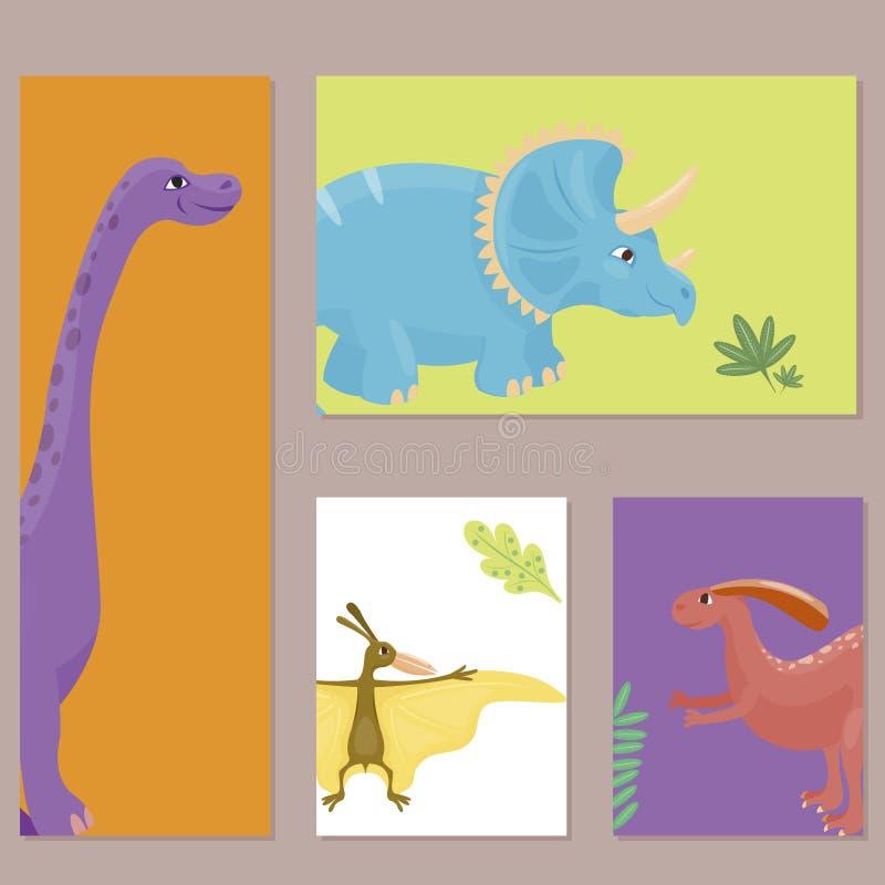 Динозавры шаржа vector хищник гада характера dino шаблона карточки изверга иллюстрации животный доисторический иллюстрация штока