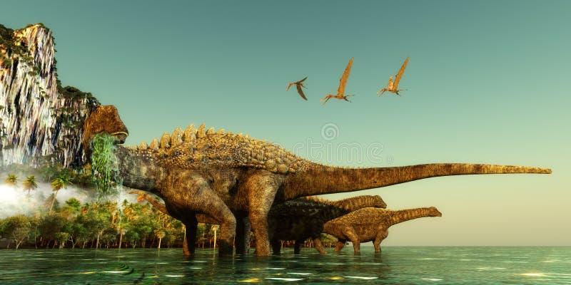 Динозавры Ampelosaurus стоковые изображения rf
