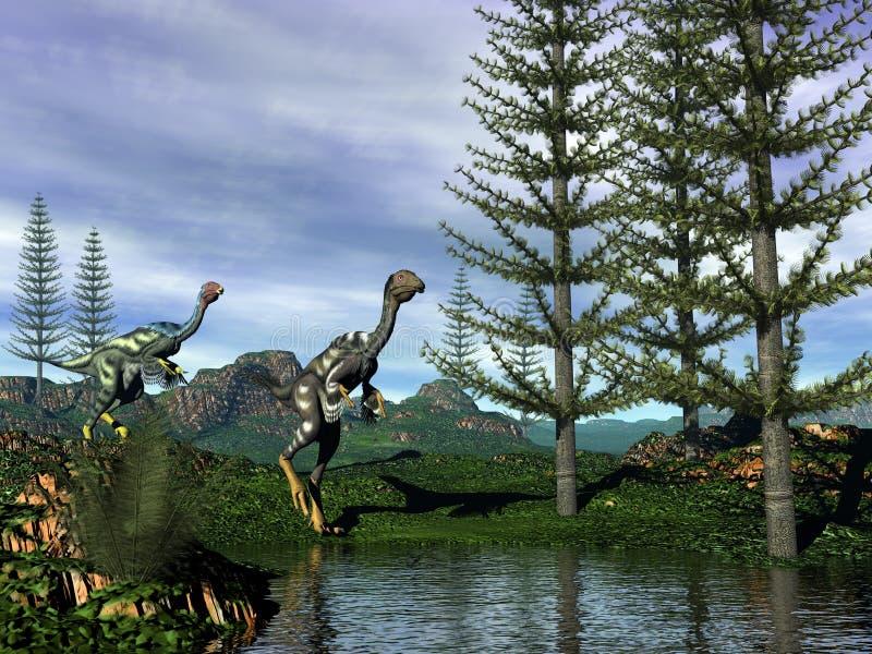 Динозавры Caudipteryx - 3D представляют бесплатная иллюстрация