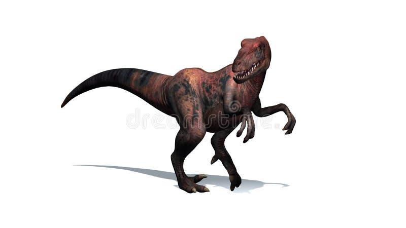 Динозавр - велоцираптор - изолированный на белой предпосылке иллюстрация штока