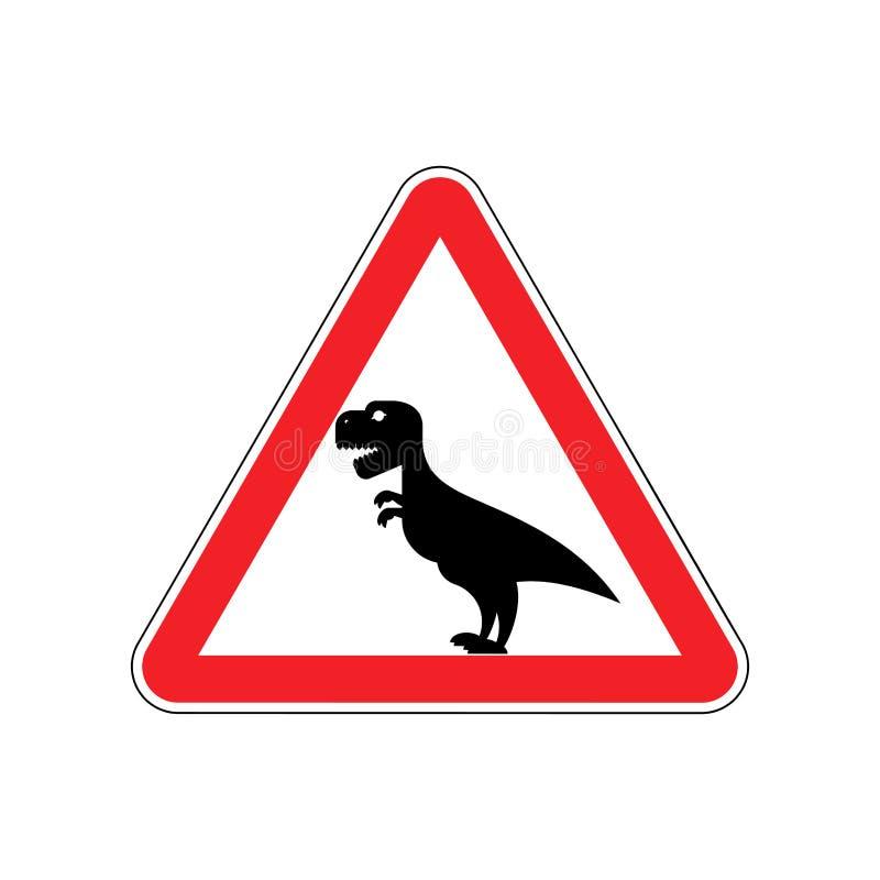 Динозавр внимания Предупреждение знака опасного гада хищника иллюстрация вектора