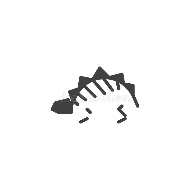 Динозавр остается ископаемым значком вектора бесплатная иллюстрация