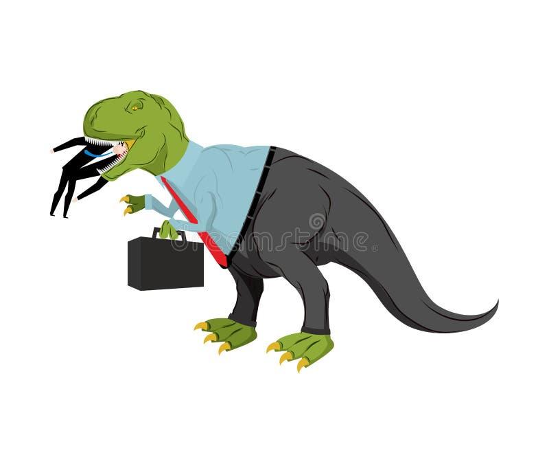 Динозавр Bsinessman ест конкурента Босс Dino ест менеджера хи иллюстрация вектора
