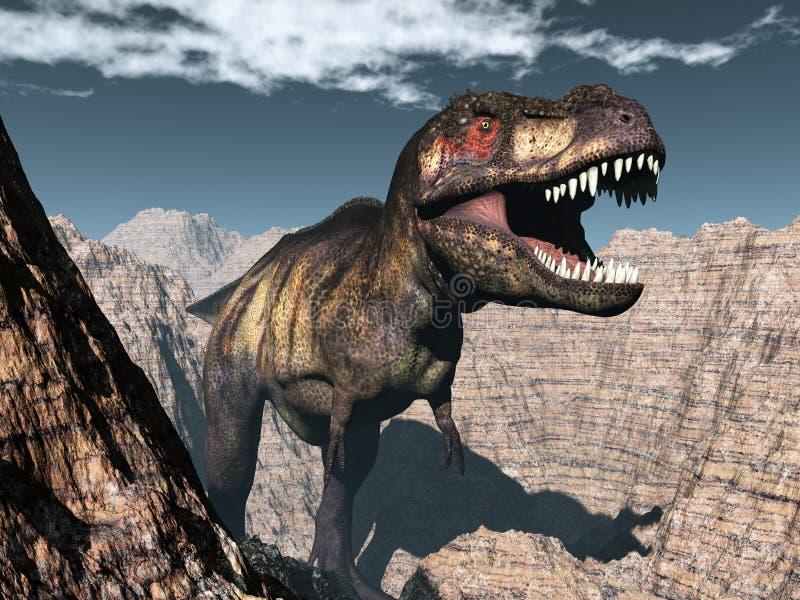 Динозавр rex тиранозавра ревя - 3D представляют иллюстрация вектора