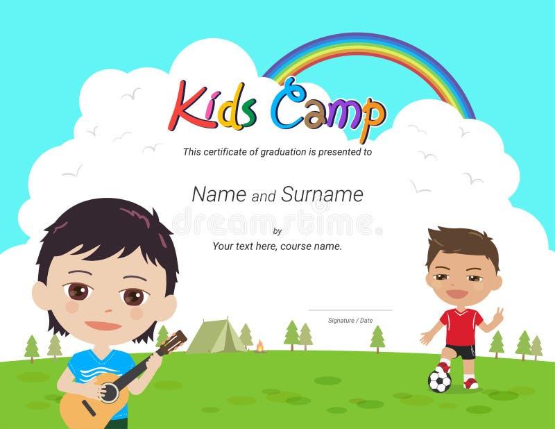 Диплом детей или шаблон сертификата с красочной предпосылкой для лагеря ребенк иллюстрация вектора