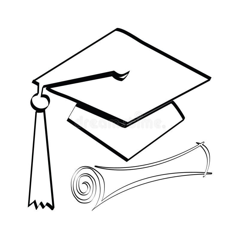 Диплом и крышка иллюстрация вектора