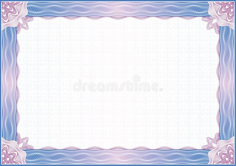 диплом сертификата граници иллюстрация вектора