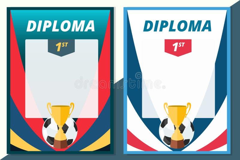Диплом победителя футбола в дизайне размера A4 Certifi футбола вектора иллюстрация штока