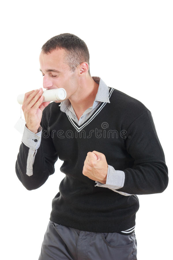 Диплом excited постдипломного человека целуя стоковые фото