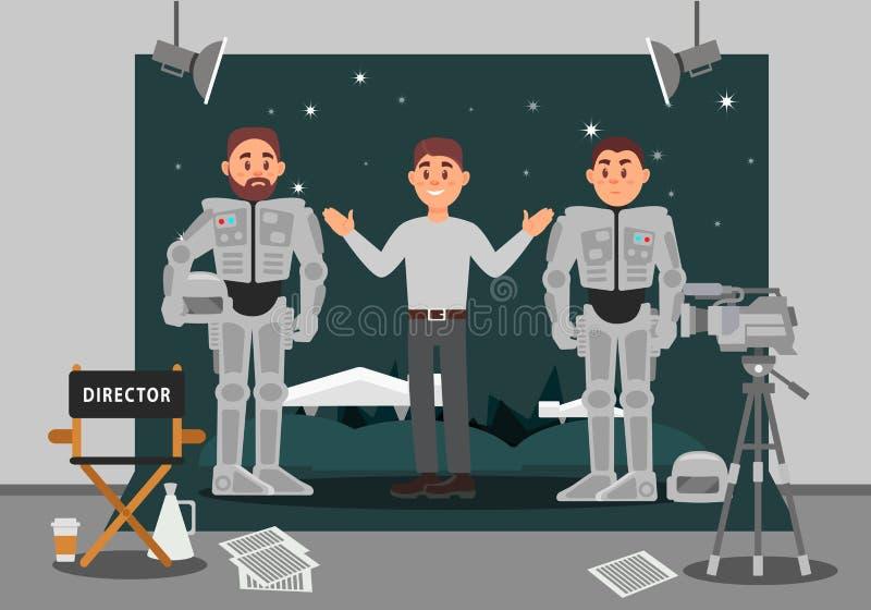 Директор и актер работая на фильме, индустрия развлечений, кино делая иллюстрацию вектора иллюстрация вектора