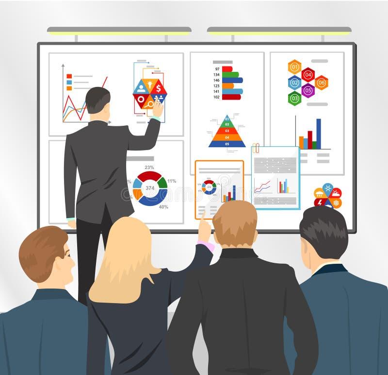 Директор по сбыту представляя бизнес-план объединяться в команду Плоская иллюстрация запаса иллюстрация вектора