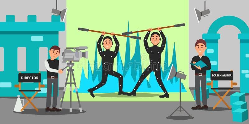 Директор, сценарист и актеры работая на фильме, индустрия развлечений, кино делая иллюстрацию вектора иллюстрация штока