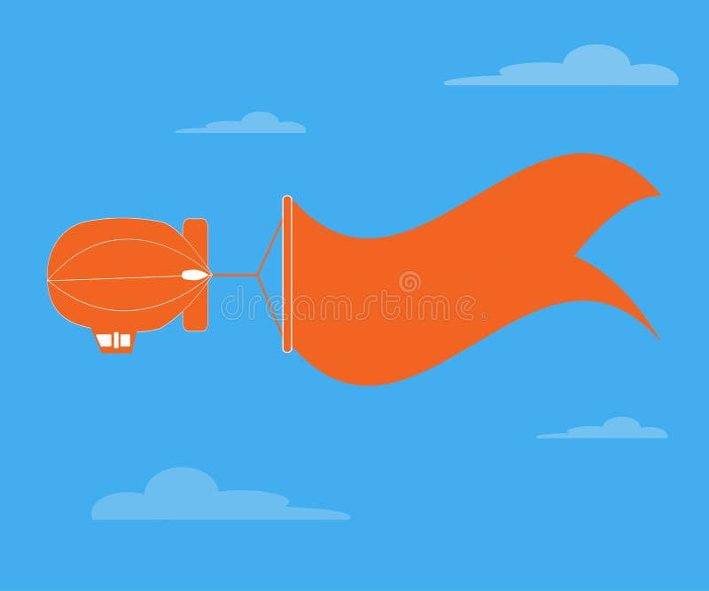 Дирижабельное летание и знамя для текста бесплатная иллюстрация