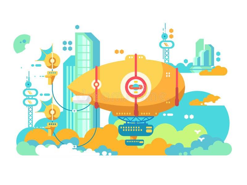 Дирижабль завиша в дизайне города плоско иллюстрация вектора