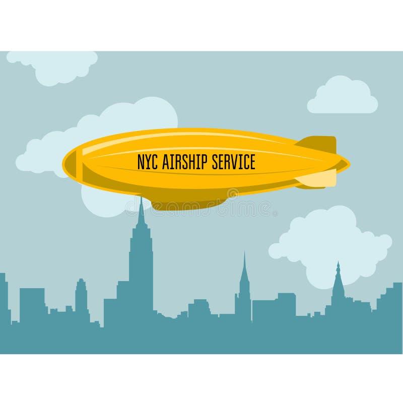 Дирижабль над городом - Зеппелином с сообщением рекламы иллюстрация вектора