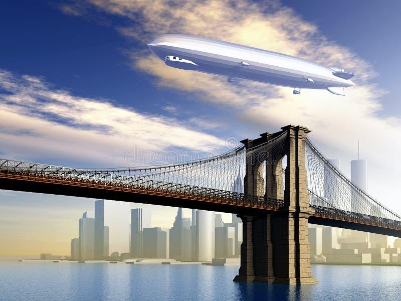 Дирижабль над Манхаттаном иллюстрация вектора