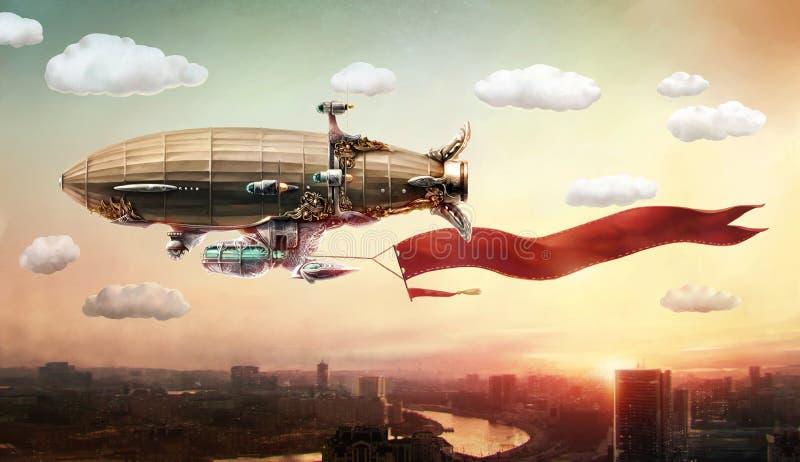 Дирижабль с знаменем, в небе над городом иллюстрация штока