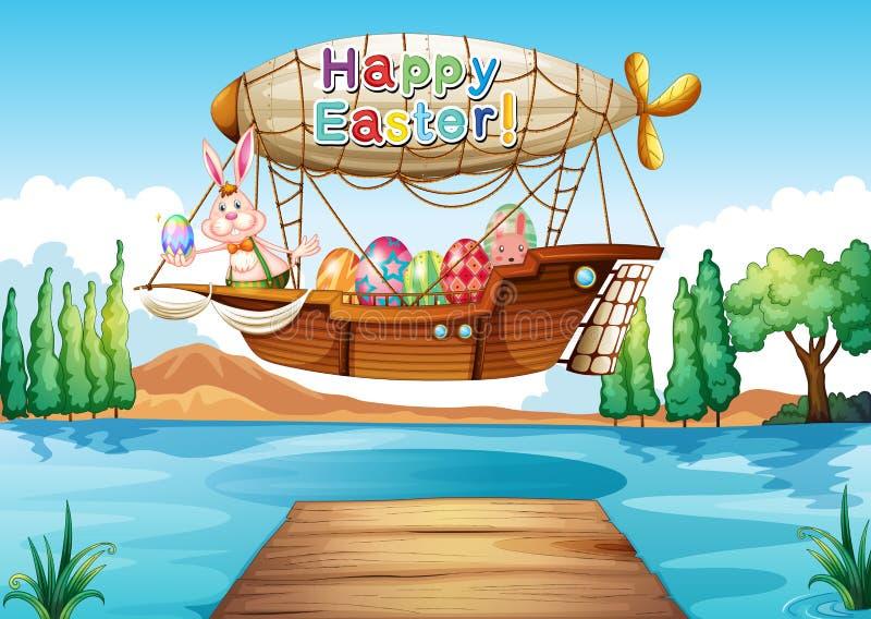 Дирижабль с приветствием пасхи бесплатная иллюстрация