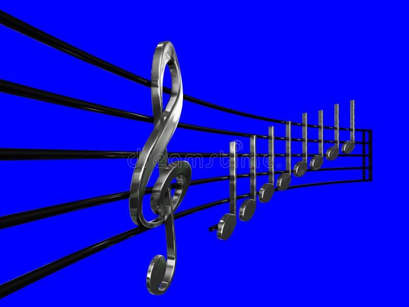 Дискантовый ключ и серебр Crotchet в нотах перспективы с голубой иллюстрацией предпосылки 3D - сделайте illustra нот 3D mi re иллюстрация вектора
