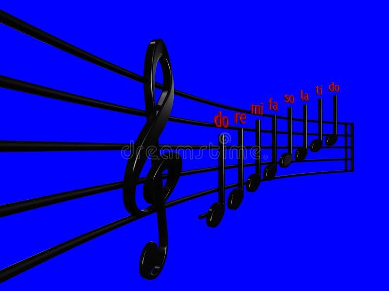 Дискантовый ключ и чернота Crotchet в нотах перспективы с голубой иллюстрацией предпосылки 3D - сделайте illustrat нот 3D mi re иллюстрация штока
