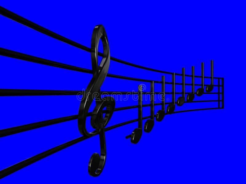 Дискантовый ключ и чернота Crotchet в нотах перспективы с голубой иллюстрацией предпосылки 3D - сделайте illustrat нот 3D mi re иллюстрация вектора
