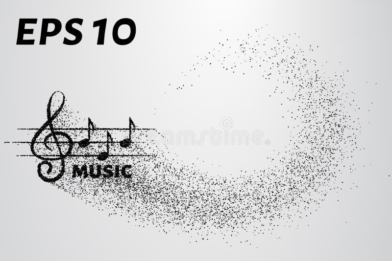 Дискантовый ключ и примечания частицы Логотип музыки сделанный малых кругов также вектор иллюстрации притяжки corel иллюстрация вектора
