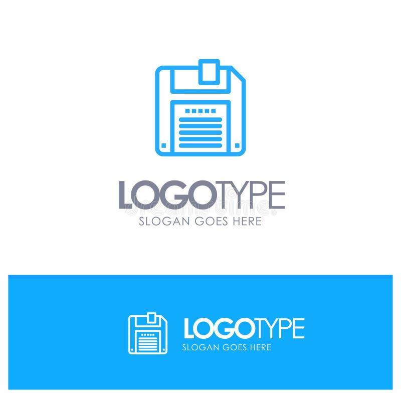Дискета, дискет, линия стиль логотипа спасения голубая иллюстрация штока