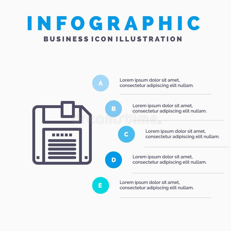 Дискета, дискет, спасительные голубые шаги шаблона 5 Infographics Линия шаблон вектора значка иллюстрация штока