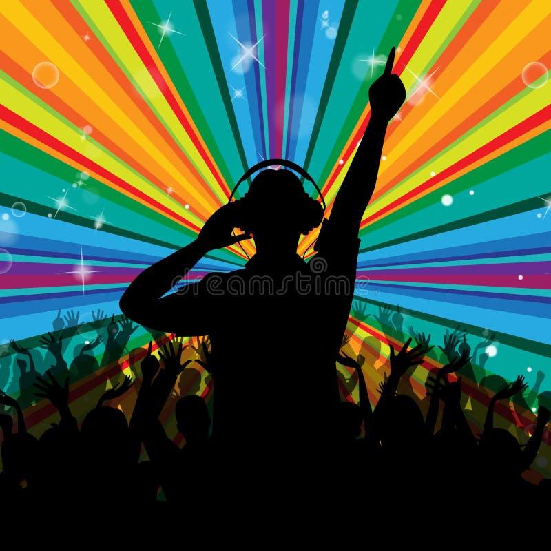 Диско Dj показывает луч и диск-жокея развлечений иллюстрация штока