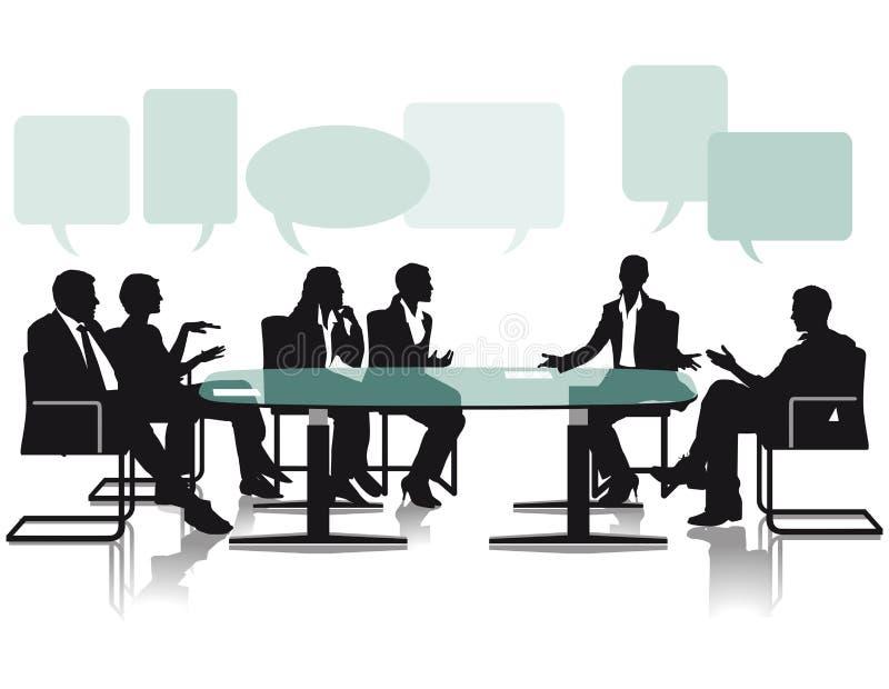 Дискуссия и обсуждение в офисе иллюстрация вектора