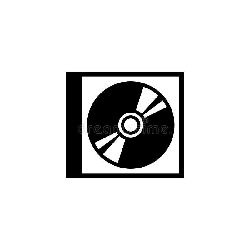 Диск КОМПАКТНОГО ДИСКА DVD и значок вектора коробки плоский иллюстрация вектора
