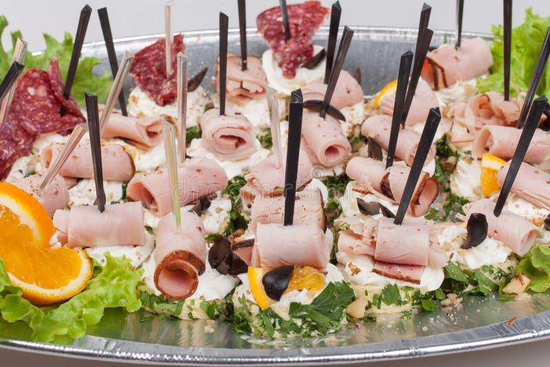 Диск партии сандвичей Еда ресторанного обслуживании стоковые фото