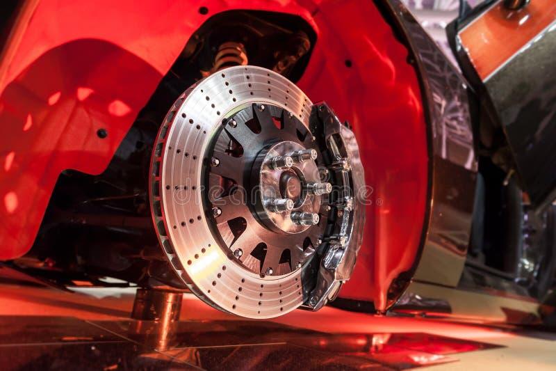 Диск тормоза и эпицентр деятельности колеса стоковое изображение