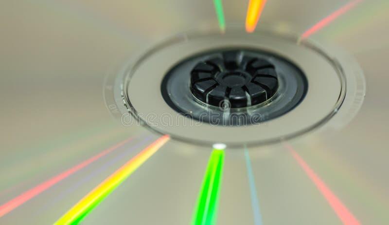 Диск CD с красочным взглядом макроса детали света отражения стоковое изображение