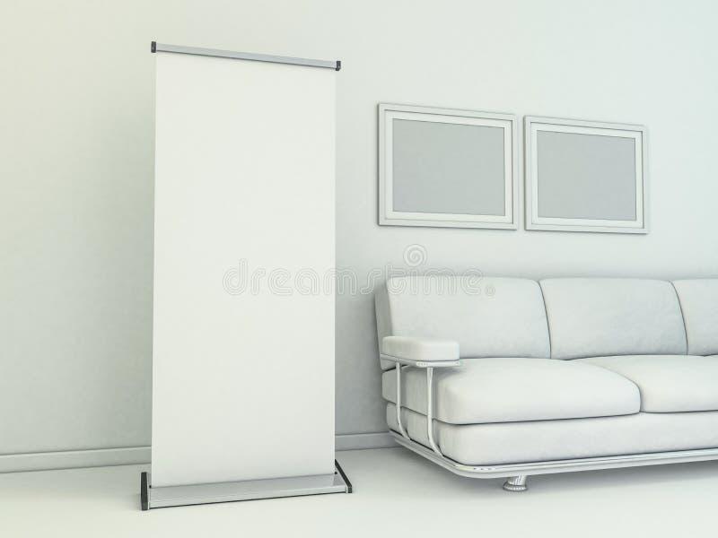 дисплей знамени пустой свертывает вверх Модель-макет шаблона 3d иллюстрация вектора