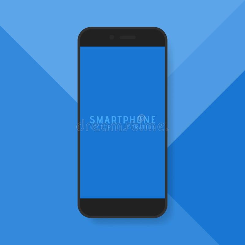 Дисплей современного умного телефона цифровой изолированный на голубой материальной предпосылке дизайна также вектор иллюстрации  иллюстрация штока