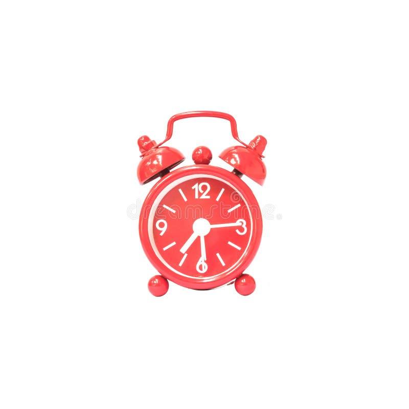 Дисплей будильника крупного плана красный 7 часов и 15 минут на часах экрана изолированных на белой предпосылке с путем клиппиров стоковое изображение
