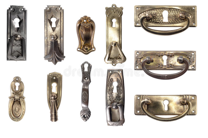 Дисплей винтажного оборудования мебели Античные ручки стоковое изображение rf